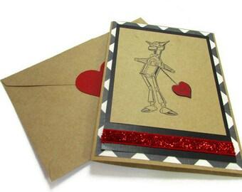 Wizard of Oz Handmade Card, Tin Anniversary, Tin Man, Valentine's Day Card, I Love You, You Have My Heart,  Heart Seal, Boyfriend Card