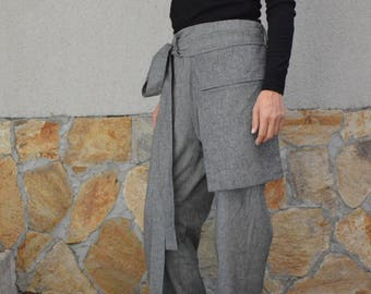 High Waisted Pants/ Cargo Pants/ Wool Pants/ Black Harem Pants/ Wool Trousers/ Gothinc Clothing.