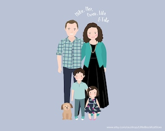 Custom Family Portrait illustration | Mothers Day Wall Art | Family Wall Art | Personalised Digital Illustration | Digital Portrait