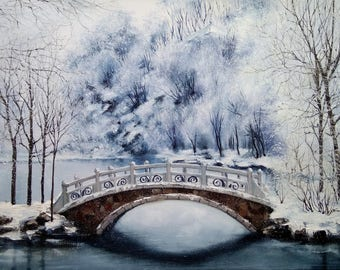 Winter in the park Oil Painting winter landscape