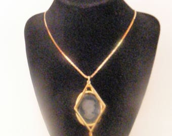 Vintage Clear Cameo  Oval Pendant on a Monet Serpentine Chain
