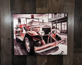 Fire Truck Art Photograph Print on Canvas