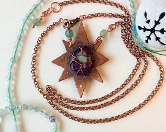 Northern Star copper pendant with purple agate & fluorite/raw style/unique necklace/unikatowy naszyjnik/Gwiazda Polarna