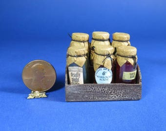 Collector Miniature 1:12 Scale POTION BOTTLE Collection in wooden stand, Witch, Wizard, OOAK