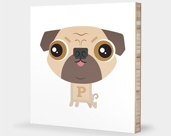 Pug art | Fawn Puggie - Alphabet art, Pet portrait, Pug gift, Dog art, Pug nursery decor, Pug illustration print, Pug decor, Pug wall art