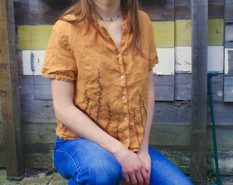 Embroidered vintage gold mustard linen top