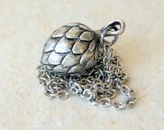 Artichoke Necklace - Vintage Antiqued Silver Artichoke Pendant