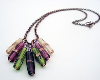 Tribal Pact - Glass Tube Bead Chevron Inspired Necklace