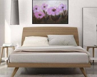 Boho house decor, Boho style bedroom wall art, Millennial pink painting Large Flowers horizontal artwork 36x24 Original canvas big painting