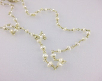 Seed Pearls and Solid 18k Gold Bead Chain Necklace - June Birthstone