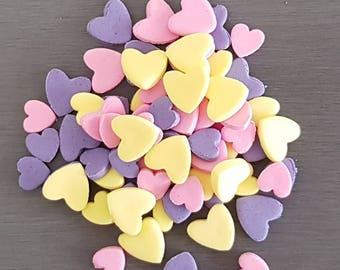 72 x Heart Confetti, Fondant Confetti, Edible confetti, cake confetti, Mermaid confetti, Rainbow confetti, donut toppers, sprinkles,