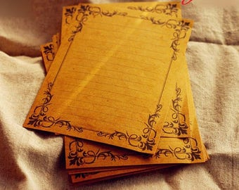 8 Sheets - Vintage Kraft Paper Letter Writing Paper Sets -  Lace