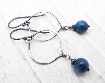 blue kyanite earrings, sterling silver, blue gemstone earrings, sterling silver, kyanite jewelry, blue gemstone earrings, hoop earrings