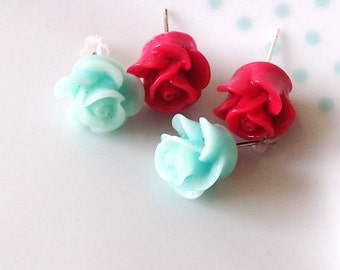 Set of Two Resin Carved Flower Stud Earrings, Pink, Blue, Pretty, Cute, Rose, Floral, Post, Summer, Festival
