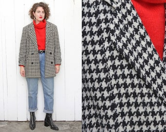 Vintage 80s Jacket | 80s Houndstooth Wool Blend Double Breasted Jacket | Medium M