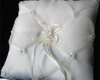 Angelic Chiffon and Satin Ring Bearer Pillow White or Ivory Vintage Bridal Wedding