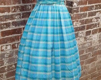 Watercolor magic!  Lovely 1950's Blue Checked Cotton Shirtwaist