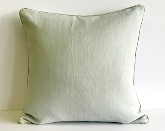 Soft Linen pillow covers with Metallic Piping