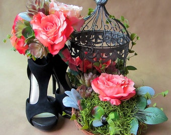 Bohemian wedding decoration set: bridal bouquet, hair piece, boutonniere, ring holder, and bird cage table center piece. FREE US Shipping.
