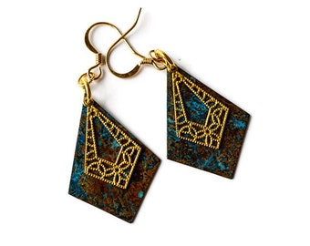 Art Deco Earrings, Turquoise and Gold Geometric Earrings, Gold Filigree Earrings, Blue Patina Earrings, Mixed Metal Jewelry