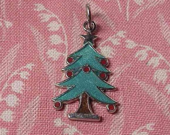 Vintage Sterling and Enamel Christmas Tree Charm