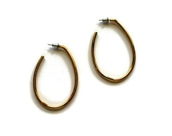 Vintage Gold Plated Oblong Hoop Costume Jewelry 80s-90s