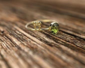 Yellow Gold Peridot Engagement Ring Yellow Gold Peridot Ring Peridot Engagement Ring Gemstone Ring Peridot Ring August Birthstone Ring