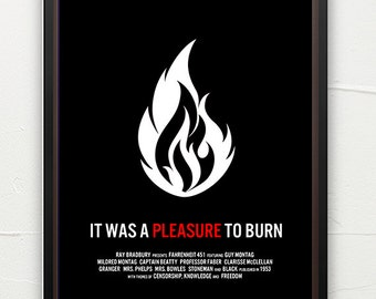 Literature poster, Fahrenheit 451, book art, classic literature, minimalist, contemporary art