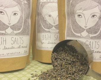 All Natural Lavender Bath Salts - { sea salt / lavender salts / mediterranean sea salts / salt soak / spa salts }