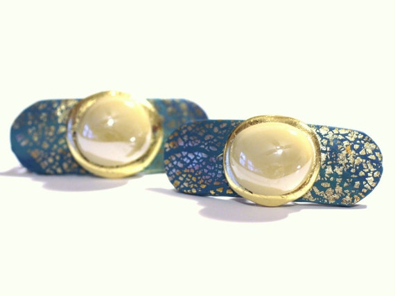 Hair Accessories, Womens Mini Barrettes, French Clips, Side Bangs, Bun, Baby Barrettes, Pearl, Gold and Shades of Greens, Small Hair Clips