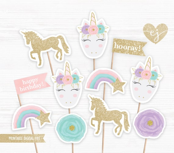 Decisive image throughout unicorn cupcake toppers printable