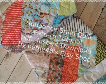 Sundance Braid Quilt Pattern Tutorial, w photos, Fast Fun Easy pdf, make with a Jelly Roll