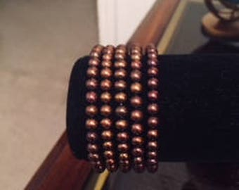 Five Dyed Brown Freshwater Cultured Pearl Bracelets