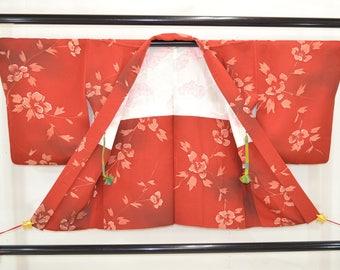 Vintage silk haori kimono jacket with hand painted peony design