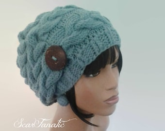 MADE TO ORDER Country Blue hand knit cabled Slouch Hat/ slouchy beanie/  with large