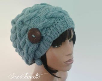 MADE TO ORDER Country Blue hand knit cabled Slouch Hat/ slouchy beanie/ with large coconut wood button and free crochet earrings