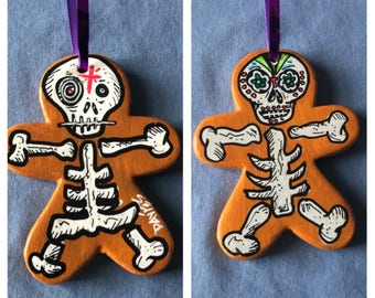 Day of the Dead Skeleton Gingerbread Man Ornament 1