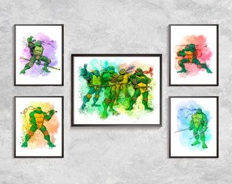 Ninja Turtles Prints, Ninja Turtles Watercolor, Teenage Mutant Ninja Turtles Poster, Ninja Turtles Birthday party, Digital download art