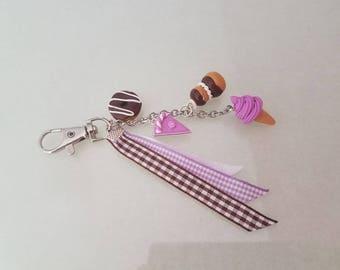 Key ring or jewel bag, mauve and chocolate