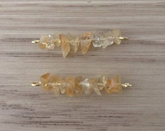 Connector stone citrine chips x 2