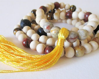 Mala Beads for Courage and Confidence - buddhist mala beads, crystal mala beads, gemstone mala beads, yellow tassel mala beads