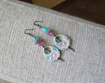 teal and rose ceramic earrings, pink shabby chic earrings, unique ceramic earrings, pastel dangle earrings, teal earrings, pink earrings