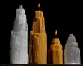 One Sm.) Selenite Crystal Shaped Beeswax Candle w/ embedded Quartz tips - Crystal Towers - (Only Small) SM.