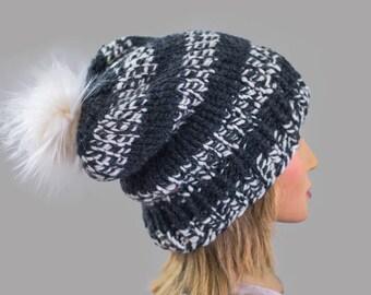 Knit Pom Beanie | Ready To Ship | Slouchy Beanie | Women's Beanie