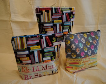 Two Tone Makeup Bag - School and Library Theme