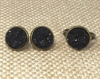 Black Druzy Jewelry Set - Druzy Earrings - Druzy Ring - Black - Druzy Jewelry - Goth Jewelry - Black Druzy Ring - Black Jewelry - Adjustable