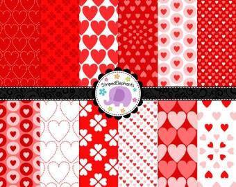 Valentine Hearts Digital Scrapbook Paper, Valentine's Day Digital Paper, Hearts Digital Paper Pack, Commercial Use