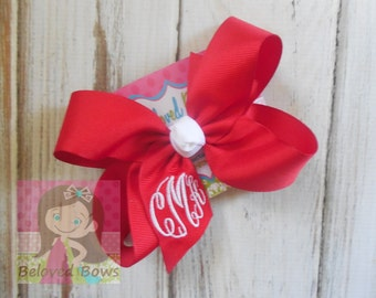 Custom Boutique Monogrammed Three Initial Hairbow, Personalized, Valentine's Day Hair Bow, Great Gift
