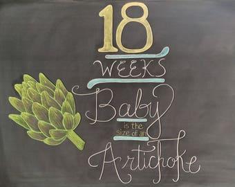 18 Weeks Pregnancy Chalkboard Sign - Maternity Photo Prop  - Weekly Baby Bumpdate - DIY Chalkboard Printable - Instant Download - 10x8 JPG