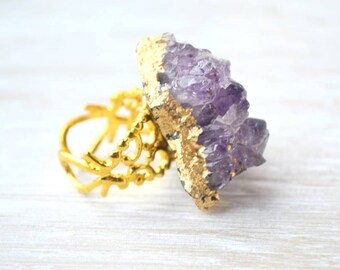 Bohemian Ring, Amethyst Cluster Ring, Purple Stone Ring, Druzy Jewelry